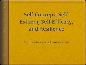 SelfConcept Self Esteem SelfEfficacy and Resilience Beccah Avraham