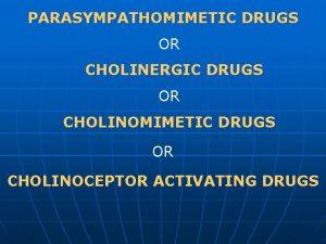 PARASYMPATHOMIMETIC DRUGS OR CHOLINERGIC DRUGS OR CHOLINOMIMETIC DRUGS