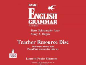 Betty Schrampfer Azar Stacy A Hagen Teacher Resource