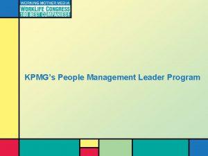 KPMGs People Management Leader Program People Management Leaders