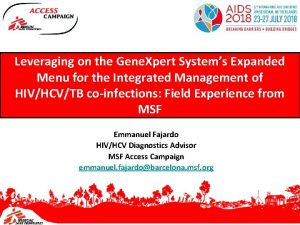 Leveraging on the Gene Xpert Systems Expanded Menu