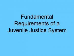 Fundamental Requirements of a Juvenile Justice System The