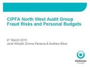 CIPFA North West Audit Group Fraud Risks and