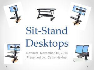 SitStand Desktops Revised November 15 2016 Presented by