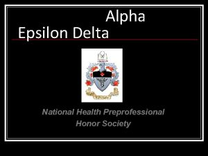 Alpha Epsilon Delta National Health Preprofessional Honor Society
