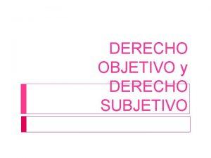 DERECHO OBJETIVO y DERECHO SUBJETIVO DERECHO Conjunto de