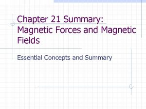 Chapter 21 Summary Magnetic Forces and Magnetic Fields
