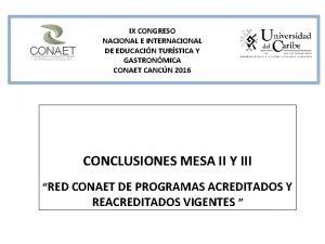 IX CONGRESO NACIONAL E INTERNACIONAL DE EDUCACIN TURSTICA