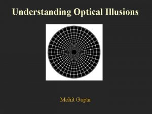 Understanding Optical Illusions Mohit Gupta What are optical