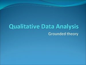 Qualitative Data Analysis Grounded theory Grounded theory GT