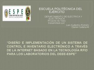 ESCUELA POLITCNICA DEL EJRCITO DEPARTAMENTO DE ELCTRICA Y