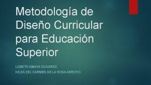 Metodologa de Diseo Curricular para Educacin Superior LIZBETH