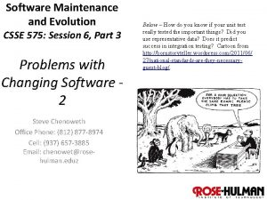 Software Maintenance and Evolution CSSE 575 Session 6