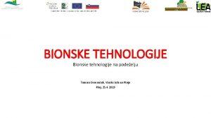 BIONSKE TEHNOLOGIJE Bionske tehnologije na podeelju Tamara Drevenek