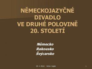 NMECKOJAZYN DIVADLO VE DRUH POLOVIN 20 STOLET Nmecko