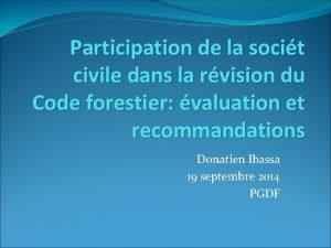 Participation de la socit civile dans la rvision