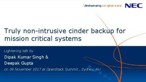Truly nonintrusive cinder backup for mission critical systems