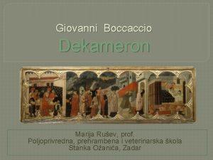 Giovanni Boccaccio Dekameron Marija Ruev prof Poljoprivredna prehrambena
