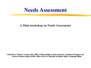 Needs Assessment A Miniworkshop on Needs Assessment Conducted
