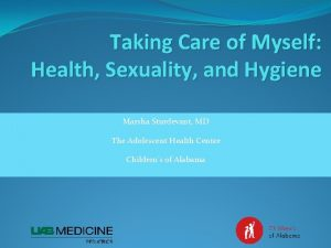 Taking Care of Myself Health Sexuality and Hygiene