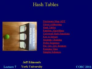 Hash Tables DictionaryMap ADT Direct Addressing Hash Tables