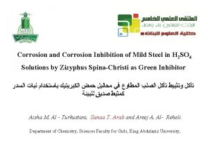 Corrosion and Corrosion Inhibition of Mild Steel in