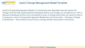 Lewins Change Management Model Template Lewins Change Management