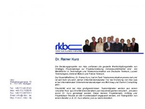 Rainer Kurz Business Consulting Dr Rainer Kurz Die