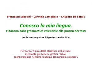 Francesco Sabatini Carmela Camodeca Cristiana De Santis Conosco
