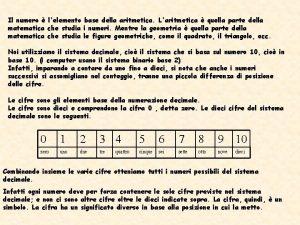 Il numero lelemento base della aritmetica Laritmetica quella