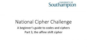 National Cipher Challenge A beginners guide to codes