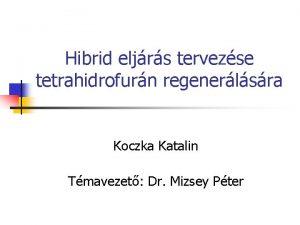 Hibrid eljrs tervezse tetrahidrofurn regenerlsra Koczka Katalin Tmavezet
