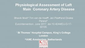 Physiological Assessment of Left Main Coronary Artery Disease