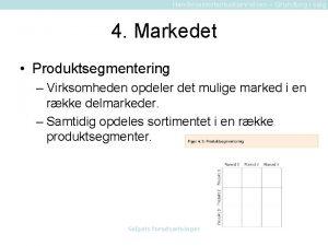 Handelsassistentuddannelsen Grundbog i salg 4 Markedet Produktsegmentering Virksomheden