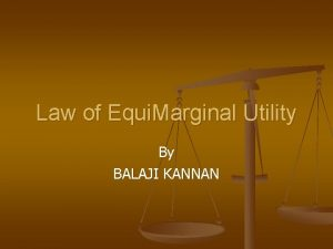 Law of Equi Marginal Utility By BALAJI KANNAN