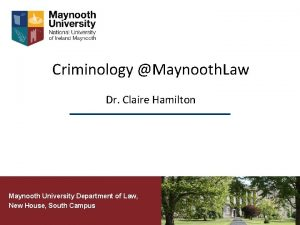 Criminology Maynooth Law Dr Claire Hamilton Maynooth University