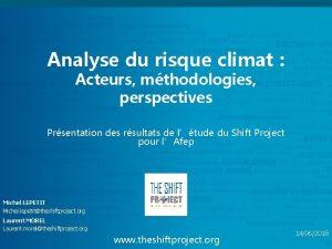 Analyse du risque climat Acteurs mthodologies perspectives Prsentation