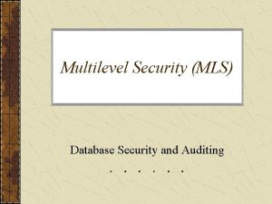 Multilevel Security MLS Database Security and Auditing Multilevel