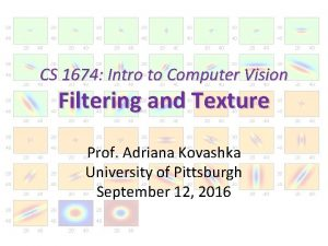 CS 1674 Intro to Computer Vision Filtering and