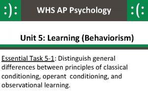 WHS AP Psychology Unit 5 Learning Behaviorism Essential