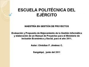 ESCUELA POLITCNICA DEL EJRCITO MAESTRA EN GESTIN DE