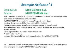 Exemple Actions n 1 Employeur Salari Mon Exemple