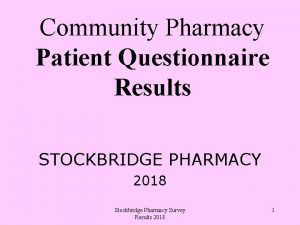 Community Pharmacy Patient Questionnaire Results STOCKBRIDGE PHARMACY 2018