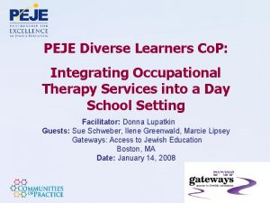 PEJE Diverse Learners Co P Integrating Occupational Therapy