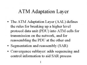 ATM Adaptation Layer The ATM Adaptation Layer AAL