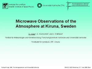 IRF Institutet fr rymdfysik Swedish Institute of Space