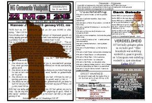 Gemeente Algemeen Gebedsbulletin No 21 van 2016 Dank