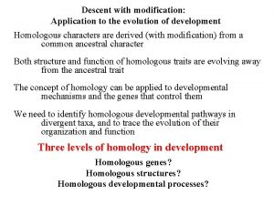 Descent with modification Application to the evolution of
