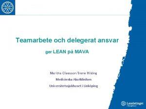 Teamarbete och delegerat ansvar ger LEAN p MAVA