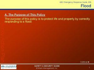 600 Emergency Response Guide 655 Flood Emergency Action